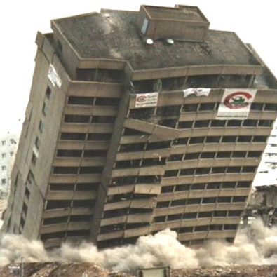 A building collapsing