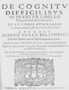 Figure 1: Frontispiece of the Latin translation of a medical work by Ibn Zuhr, the De Cognitu difficilibus (Venice, 1628).