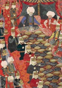 Figure 2: Ottoman painting of a Banquet given by the commander-in-chief Lala Mustafa Pasha to the janissaries in Izmit, 5 April 1578 (Topkapi Palace Museum Library).